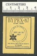 B54-08 CANADA 1967 BYPEX-67 Ottawa Philatelic Exhibition 1d Yellow MNH - Local, Strike, Seals & Cinderellas