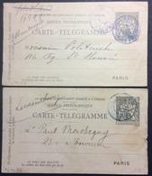PEPO38 Entier Pneumatique 2 Cartes Télégramme Chaplain 30c Obl Bleue Opéra Obl Violette Provence - Pneumatic Post