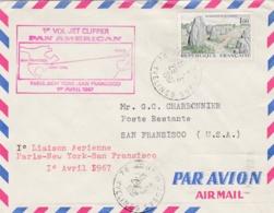 1er Vol Jet Clipper Paris New-York San Francisco 1 Avril 1967 Sur Lettre - Posta Aerea