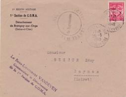 Cachet Centre International D'Instruction Sur Lettre Avec No 12  De Brétigny Sur Orge - Marcophilie (Lettres)