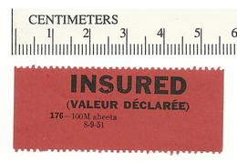 B54-13 CANADA INSURED Label Etiquette 1951 MNH - Local, Strike, Seals & Cinderellas