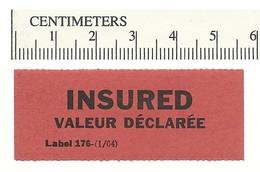 B54-14 CANADA INSURED Label Etiquette 1964 MHR - Local, Strike, Seals & Cinderellas