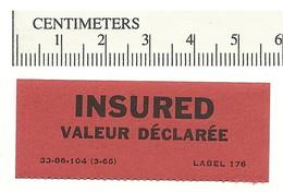 B54-15 CANADA INSURED Label Etiquette 1966 MNH - Local, Strike, Seals & Cinderellas