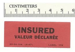 B54-16 CANADA INSURED Label Etiquette 1967 MNH - Local, Strike, Seals & Cinderellas