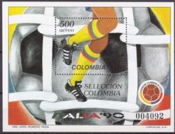 Kolumbien, 1990, 1805 Block 44, Fußball-Weltmeisterschaft, Italien. MNH ** - Colombia