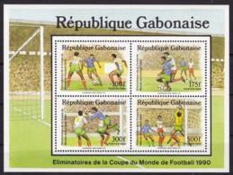 Gabon, 1989, 1045/48 Block 63 , Fußball-Weltmeisterschaft 1990. MNH ** - Gabun (1960-...)