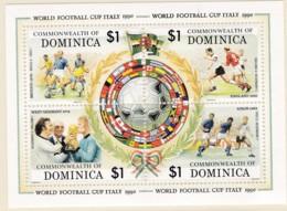 Dominica, 1989 1242 Block 156, Fußball-Weltmeisterschaft, Italien. MNH ** - Dominica (1978-...)