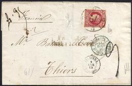 "1862. TALAVERA DE LA REINA A THIERS (FRANCIA). 12 CUARTOS ED. 53. MAT. RC ""57"". MARCA ""FRANQUEO/INSUFICIENTE"". ENVUELTA. - 1850-68 Reino: Isabel II"