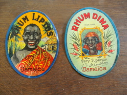 2stuks Oude       Etiketten  RHUM DINA --- RHUM  LIPTOS  Met Gesigneerd   J   P    . DE  LANDSHEER - Rhum