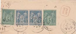 Yvert 75 X 2 + 90 X 2 Paire Sage Sur Fragment Lettre Recommandée BLERANCOURT Aisne 192/1884 - 1877-1920: Periodo Semi Moderno