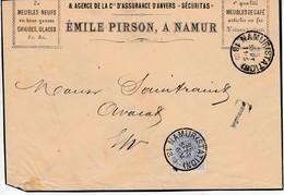 """Lettre Non Affranchie De Sc Namur ( Station ) 25 SEPT 1880 / 11-s -> Ev + Griffe """"T"""" Et Appiosition Du TTX N0 2 ( 20 Cts - Taxes"""