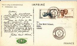"""MADAGASCAR - 1955 -""""dear Doctor Card"""" -  Ionyl - Madagascar (1889-1960)"""