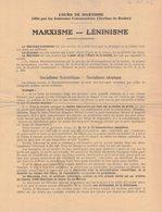 AVEYRON RODEZ HISTOIRE POLITIQUE SYNDICALISME PARTI COMMUNISTE FRANCAIS FFI TRACT PROPAGANDE MARXISME LENINISME - Documents Historiques