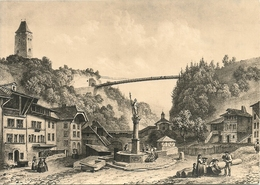 """Fribourg (Svizzera) """"Fontaine De La Fidelitè Et Pont Gotteron"""" D'apres Une Lithographie De Laurent Deroy, Illustrazione - FR Fribourg"""
