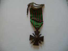 Croix De Guerre 1914 1916  Avec étoile, Laurier Et Mini Fourragère - 1914-18