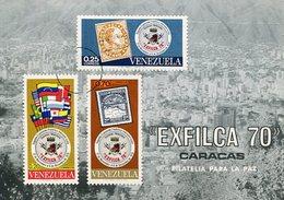 TARJETA CARD FILATELIA PARA LA PAZ PEACE EXFILCA 70 CARACAS VENEZUELA 1970 FDC OBLITERES - LILHU - Venezuela