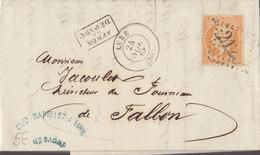 °°°  PLI DEPART DE LURE  POUR FALLON . ANNEE 1868    °°°   ////  REF  .  FEV. 19 / N° 8127 - 1849-1876: Période Classique