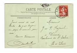 Cachet Loudes Haute Loire 1909 Sur Timbre Semeuse 10 Centimes Cpa - Postmark Collection (Covers)