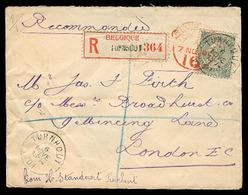 BELGIUM. 1901. Turnhout - UK. Registr Env Fkd 50c. VF + Overseas Small Town Usage. - Belgium