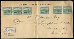 BC - Dominica. 1919. War Tax. Dominica - Birmingham. Registr OHMS Multifkd Env. - Unclassified