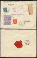 CHINA. 1927. FRENCH Maritime Mail. Shanghai - Switzerland. Multiple Fkd Registered ON BOARD OF French Maritime Messageri - Non Classificati