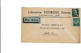 ORAN Flamme 5 LO Du 19/6/1945 S/ Gandon 2fr & Iris 1fr Surchargés Algérie Enveloppe Librairie Touboul à Oran   890 - Algérie (1924-1962)