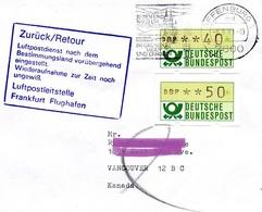 """BRD 1981  Brief Nach Vancouver, KANADA, Dt. Stempel  """"Luftpostdienst Vorübergehend Eingestellt""""  (Poststreik) - Post"""