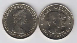 Jersey Royal Wedding Two Pound Coin £2 Circulated Dated 1981 - Jersey