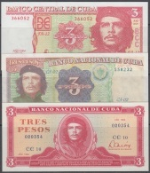 BK-SET -115 CUBA 1984-2004 BANCO NACIONAL UNC 3$ DIFERENTES TIPOS ERNESTO CHE GUEVARA. - Cuba