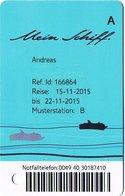 GERMANIA KEY CABIN  Mein Schiff      TUI CRUISES     Shipping Company - Cartes D'hotel