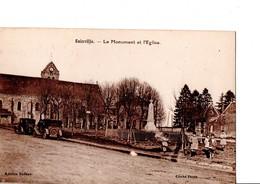 SAINVILLE. - Le Monument Et L'Eglise. Belle Animation, Autos... Etat Neuf. Voir SCAN - Other Municipalities