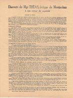 TOULOUSE MONTAUBAN HISTOIRE GUERRE 39/45 MILITARIA TRACT DISCOURS THEAS RETOUR CAPTIVITE FÊTE LIBERATION ARCHEVÊQUE - Documenti Storici