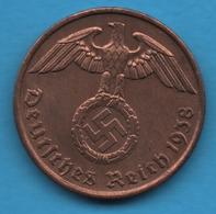 DEUTSCHES REICH 2 REICHSPFENNIG 1938 J KM# 90 (svastika) - [ 4] 1933-1945 : Third Reich