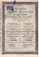 Nouvelle Société Du Canal De Corinthe- Action Au Porteur De 25 Drachmes - Timbre Fiscal - Navigation