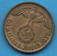 DEUTSCHES REICH 10 REICHSPFENNIG 1938 B KM# 91 (svastika) - [ 4] 1933-1945 : Troisième Reich