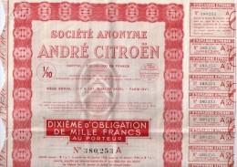 Société Anonyme André Citroën - Dixième D'obligation De 1000 Francs Au Porteur - Automobile
