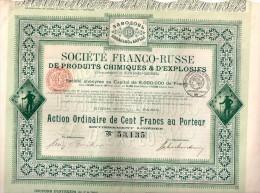 Société Franco-Russe De Produits Chimiques Et D'Explosifs (Ets De Kowanko-Ba- Action Ordinaire De Cent Francs Au Porteur - Industrie