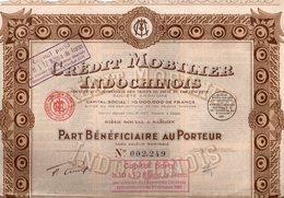 Crédit Mobilier Indochinois - Part Bénéficiaire Au Porteur Sans Valeur Nominale - Banque & Assurance