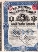 Banco Hipotecario De Credito Territorial Mexicano - Crédit Foncier Mexicain - Action De 100 Pesos - Banque & Assurance