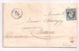 """CHAGNY : Lettre De 1855 : Boite Rurale H  Rouge  """" Puligny """" ( Identifiée ) : Saône Et Loire - Marcophilie (Lettres)"""
