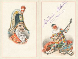 Carte à 2 Volets Arlequin / Polichinelle MENU Casa Mare 28 Février 1892 ( Recto Verso ) - Menus
