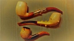 PIPES AMBRE & ECUME -LOT DE 3 / Deluxe Hand Carved  Ornate Stem Meerschaum Pipes - Pipes En écume