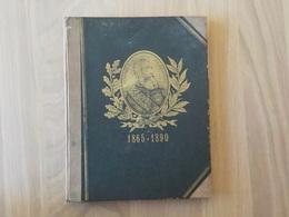 1865- 1890 Rare Cahier écolier Cartonné Couverture Médaillon Doré Léopold II Année Scolaire 1890-1891 - Buvards, Protège-cahiers Illustrés