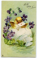 EASTER : WITH MY LOVE / REMEMBRANCE - CHICK WITH EGG  (TUCKS) (EMBOSSED) - Easter