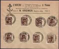 1922 Lettre: L'Ancre N.Kremer, Cachets Expo. Sirenala Esch/Alzette, Michel 2019: 8x122  2Scans - Luxembourg