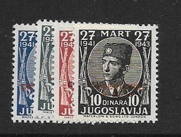 1943 MNH Yugoslavia, Red Cross Overprint - Unused Stamps