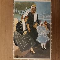 Pont-l'Abbé.bigoudennes En Costume.aquarelle De Homualk Format 9×14 - Pont L'Abbe