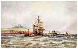 ARTIST : W. CANNON - COASTING VESSELS OFF DOVER  (TUCKS OILETTE) - Sailing Vessels