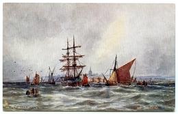 ARTIST : W. CANNON - COASTING VESSELS OFF GRAVESEND  (TUCKS OILETTE) - Sailing Vessels