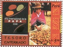 Lote P2008-11, Peru, 2008, Sello, Stamp, Papa, Papa, Potatoes, Indigenous Theme - Perú